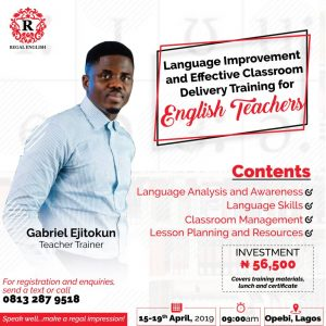LANGUAGE IMPROVEMENT AND EFFECTIVE CLASSROOM DELIVERY TRAINING FOR TEACHERS